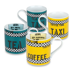 Konitz - Set of 4 Mugs Tea Time and Coffee Time (2 Each) - These mugs take their design inspiration from taxi cabs�because even taxi drivers need a coffee break! Green tea mug has a tea 'recipe' printed instead, while yellow coffee mug has a coffee 'recipe'.