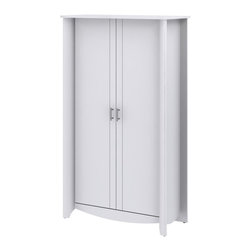Bush Furniture - Bush Furniture 2-Door Tall Storage X-30-79161YM - Fits any home or office. Simple styling and elegant design of the Bush Furniture Aero Collection Pure White 2-Door Tall Storage takes up little space and adds ample storage. Two large, tall compartments handle any storage need from books to bath towels. Dual adjustable and one fixed shelf provide flexibility and stability. Contemporary 2-door design conceals anything stored and features chrome-plated metal door hardware. Sophisticated look and sleek lines complement any room decor. Surface and edges resist dings and nicks, scratches and stains. Rugged construction provides long life and offers total functionality. Includes Bush Furniture 1-year warranty.