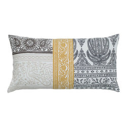 Rizzy Home - Rizzy Home Gray and Yellow Patchwork Decorative Throw Pillow Multicolor - T05254 - Shop for Pillowcases and Shams from Hayneedle.com! A patchwork of sophisticated designs ensures the Rizzy Home Gray and Yellow Patchwork Decorative Throw Pillow will add designer appeal to your room. A handsome lumbar pillow this one is made of cotton with intricate patterns in black gray and mustard yellow. It includes a hidden zipper and removable polyester insert. Hand wash the cover in cold water and lay flat to dry.About Rizzy HomeRizwan Ansari and his brother Shamsu come from a family of rug artisans in India. Their design color and production skills have been passed from generation to generation. Known for meticulously crafted handmade wool rugs and quality textiles the Ansari family has built a flourishing home-fashion business from state-of-the-art facilities in India. In 2007 they established a rug-and-textiles distribution center in Calhoun Georgia. With more than 100 000 square feet of warehouse space the U.S. facility allows the company to further build on its reputation for excellence artistry and innovation. Their products include a wide selection of handmade and machine-made rugs as well as designer bed linens duvet sets quilts decorative pillows table linens and more. The family business prides itself on outstanding customer service a variety of price points and an array of designs and weaving techniques.