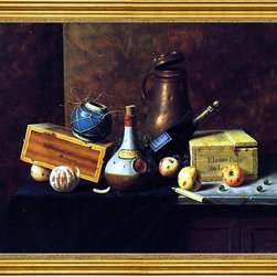 "William Michael Harnett-18""x24"" Framed Canvas - 18"" x 24"" William Michael Harnett Still Life (also known as Copper Tankard, Bos, Apples, Wine Bottles, Ginger Pot, Cigar Box and Peeled Orange) framed premium canvas print reproduced to meet museum quality standards. Our museum quality canvas prints are produced using high-precision print technology for a more accurate reproduction printed on high quality canvas with fade-resistant, archival inks. Our progressive business model allows us to offer works of art to you at the best wholesale pricing, significantly less than art gallery prices, affordable to all. This artwork is hand stretched onto wooden stretcher bars, then mounted into our 3"" wide gold finish frame with black panel by one of our expert framers. Our framed canvas print comes with hardware, ready to hang on your wall.  We present a comprehensive collection of exceptional canvas art reproductions by William Michael Harnett."