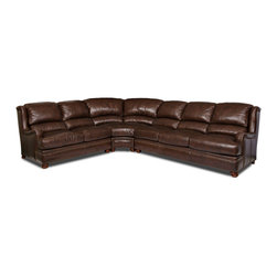 Randall Allan - Tristan Sectional - Forget just watching the big game. You can fit the whole team on this large sectional sofa. In dark chocolate leather, it features traditional styling like English rolled arms, nailhead trim and stacked bun feet. Flag this one. The clock is counting down.