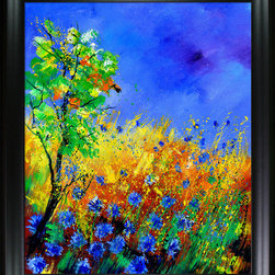 overstockArt.com - Ledent - Cornflowers 1170 - Cornflowers 1170 is a canvas print of a colorful modern painting of cornflowers and landscape. Originally oil on canvas stretched on a wooden frame 15,7 x 19,7 inches. Pol Ledent was born in 1952 in Belgium. He came to painting in 1989. He started with watercolor but felt rapidly that oil painting would match his way of being. He is a self-taught painter . Nevertheless he took some drawing lessons in a Belgian academy. After taking part into numerous group exhibitions, some galleries in Belgium proposed to him to exhibit his works. Dinant, Bouillon, Brussels , Paris and Moscow in October 2006.