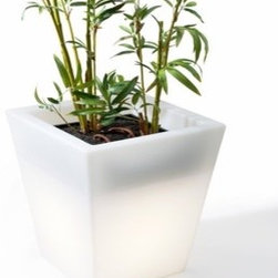 Offi - Hugo Pot | Offi - The Outdoor Hugo Pot is the perfect addition to a modern patio or outdoor space. Designed by the Megasii Design Group in Hong  Kong, the Outdoor Hugo Pot is made of rotationally molded plastic that is both non-toxic and odorless. This sleek pot can house  your favorite plant while providing ambient lighting.  The replaceable bulb is a compact fluorescent lamp (CFL), and is available at hardware stores. The Outdoor Hugo Pot comes with  a water draining system.