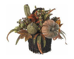 """Nearly Natural - Fall Pumpkin and Berry Table Arrangement - A virtual cornucopia of Autumn goodness. A lovingly crafted twig-wrapped base. Sure to be the showpiece of any holiday table. Construction Material: Polyester material, Iron wire, Wood, Poly Foam, Plastic. 14 in. W x 14 in. D x 15 in. H ( 3 lbs. ). Pot Size: 8 in. W x 7 in.HWith a cornucopia of Autumn goodness cascading out of its lovingly crafted twig-wrapped base, this 15"""" table piece will be the showpiece of your holiday table (apologies to your holiday turkey and cranberry sauce, of course). And here's the best part: your """"nearly natural"""" table piece will never spoil, meaning it'll become as much a tradition as your special holiday silverware."""