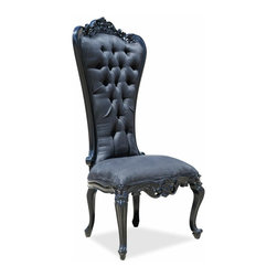 Fabulous & Baroque - Absolom Roche Side Dining Chair - Black - A companion to the Absolom Roche dining table, this Absolom Roche dining chair is an exquisite piece that will serve you in both luxury and comfort. The legs and frame are elegantly crafted from luscious mahogany wood with a grandeur black laquer finish. Don't delay! Treat yourself to a posh dining experience with these stunning pieces as your next purchase.