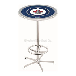Holland Bar Stool - Holland Bar Stool L216 - 42 Inch Chrome Winnipeg Jets Pub Table - L216 - 42 Inch Chrome Winnipeg Jets Pub Table  belongs to NHL Collection by Holland Bar Stool Made for the ultimate sports fan, impress your buddies with this knockout from Holland Bar Stool. This L216 Winnipeg Jets table with retro inspried base provides a quality piece to for your Man Cave. You can't find a higher quality logo table on the market. The plating grade steel used to build the frame ensures it will withstand the abuse of the rowdiest of friends for years to come. The structure is triple chrome plated to ensure a rich, sleek, long lasting finish. If you're finishing your bar or game room, do it right with a table from Holland Bar Stool.  Pub Table (1)