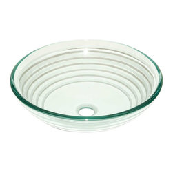 Renovators Supply - Glass Sinks Frosted Glass Trace Textured Glass Vessel Sink Round - Glass Vessel Sinks: Textured Frosted Tempered glass sinks are five times stronger than glass, 1/2 inch thick, withstand up to 350 F degrees,  can resist moderate to high degrees of impact & are stain��_��__��_��__��_��__proof. Ready to install this package includes FREE 100% solid brass chrome-plated pop-up drain, FREE machined 100% solid brass chrome-plated mounting ring & silicone gasket. Measures 16 1/2 in. dia. x 6 in. deep x 1/2 in. thick.