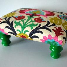 Colorful Rainbow Damask Footstool Ottoman