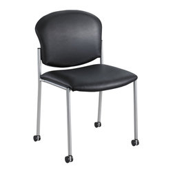 "Safco - Diaz Guest Chair - Black Vinyl - Make it a Diaz sort of day! Whether you choose a Bistro or Guest chair style, youre certain to be wowed with its simple and traditional styling. Choose the High top option as a sleek bar or lobby stool, and the low top for reception areas, guest seating or waiting areas. This chair comes in a variety of selections, from upholstered Black or Burgundy fabric to the Black vinyl option. Step it up a notch and choose the wood back Diaz option in Cherry, Espresso or Mahogany. With its ease of space customization it is the perfect fit for any place where youre set to impress! Back Size: 20.5""Wx16""H; Glides: Rubber; Seat Height: 18""; Seat Size: 19""w x 18""d; Stackable: Yes, 8 high; Upholstery: 100% Vinyl; Limited Lifetime Warranty; Wheel Caster Size: 1 1/2"" dia.; Dimensions: 19.5Wx18.5Dx33.5H"""