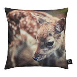 "By Nord Copenhagen - Baby Deer Kids Cushion - Who doesn't love Bambi! An adorable kids cushion with a digital print of a Baby Deer in By Nord's recognized cotton canvas quality fitted with a hypoallergenic fiber cushion. 12"" x 12""."