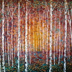 Birch Trees In Autumn Sunshine 36X48 (Original) by Jean Vadal Smith Bentson - Take a walk in the sunshine. Feel the warm sun and look at all the hues of a fall day. Birch Trees fill this painting with palette knife textures and colorful vibrant stokes.