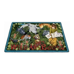Joy Carpets Wild About Books Kids Area Rug - This bright and colorful Wild About Books Carpet shows that everyone loves a good story even in the jungle! Kids will love the bright colors and fun jungle theme and be encouraged to read every day.Sizes available:3 feet 10 inches x 5 feet 4 inches5 feet 4 inches x 7 feet 8 inches7 feet 8 inches x 10 feet 9 inches10 feet 9 inches x 13 feet 2 inches.This carpet features SoftFlex backing which is an air-texturized polypropylene secondary backing that's designed to withstand the most demanding situations. SoftFlex is woven tightly yet is still extremely flexible which helps eliminate wrinkles and provide superior protection and insulation underfoot.JoyTuff carpets are Stainmaster-protected and ideal for home or office use. They are constructed from Stainmaster BCF Type 6 6 two-ply nylon and feature advanced protection against stain and soil as well as Impervion mold and mildew protection. This carpet is bound and serged for maximum durability and features a SoftFlex back plus a Class I Flammability rating. To maintain simply vacuum regularly and use hot water extraction cleaning as required.This carpet includes the following warranties:Lifetime limited wear warrantyLifetime limited antimicrobial protectionLifetime limited static protection10-year limited dual technology soil and stain protectionDedicated to Environmental StewardshipJoy Carpets understands the importance of environmental stewardship and its relationship to a successful business. We are committed to operating our facilities in an environmentally sustainable manner and in a manner that protects the health and safety of our associates and the public.Our environmental commitment is driven by a holistic approach to sustainable operations not simply focusing on recycling alone. Joy Carpets reaches beyond recycling in an effort to reduce our company's environmental footprint. Our vision and progress to achieving the goal of full sustainability focuses on the following:Environmentally friendly productsReview of our products' supply chainExtending product life cycleUse of recycled packagingReducing waste to landfillReducing energy consumption and water usageUse of alternative energy sources'No carpet to landfill' commitmentRecycling carpet into new productsDonating carpet for charitable re-useAdditionally Joy Carpets is committed to establishing a strong foundation of environmental values with our families associates and communities to ensure the long-term conservation of our earth's natural resources.About Joy CarpetsJoy Carpets is the leader in specialty broadloom modular carpet Carpets and mats in creative and eye-catching designs. Joy takes pride in providing first-rate floor coverings for residential educational hospitality healthcare and commercial markets. The pioneer of fine gauge tufting Joy Carpets introduced the first recreational carpeting to the industry in 1973 and since that time has been known for their commitment to cutting edge technology and design. Joy Carpets are proudly made in the United States and sold worldwide. Choose Joy Carpets for superior service and unique fun products that enhance your decor and give you fantastic flooring in an instant.