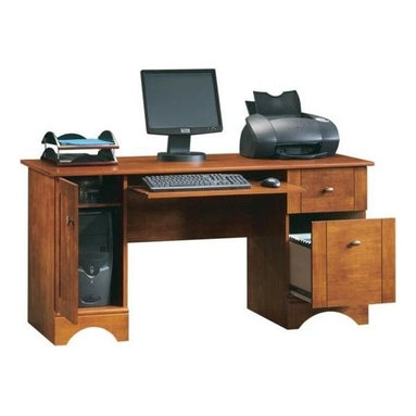 Sauder - 2 Drawer Computer Desk in Brushed Maple Finis - 2 Drawers with metal runners and safety stops. Slide-out keyboard and mouse shelf with metal runners and safety stops. Keyboard tray is removable for extra leg room. Storage area behind door holds vertical CPU tower and has an adjustable shelf. File drawer holds letter or European size hanging files. Desk top grommet hole for electrical cord access. Patented T-slot drawer assembly. Made of Engineered wood, MDF, partical board. Finished paper back. Assembly required. 59 in. W x 23 in. D x 29 in. H