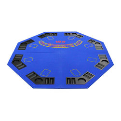 JP Commerce - Blue 4-Fold Octagon Poker/Blackjack Table Top - Great for all cards games such as poker and blackjack. 8 player positions with individual trays for poker chips and beverages. Carrying bag with double strap handle. Smooth playing surface. Very light, sturdy and easy to transport. Folds in half and then half again (2 ft. x 2 ft.). Great for carrying and storage. Made from superior quality felt and foam. 48 in. L x 48 in. W (19 lbs.)