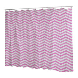 Uneekee - Uneekee Chevron Pink Shower Curtain - Your shower will start singing to you and thanking you for such a glorious burst of design as you start your day!  Full printing on the front and white on the back.  Buttonhole openings for shower rings.