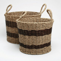 "Tag Everyday - Two-Tone Seagrass Baskets - Set of 2 - Woven seagrass. Includes one small basket and one large basket. Small 11""h x 14""d. Large 12""h x 16.5""dColor: Natural/Navy . Small: 11 in. H x 14 in. dia Large 12 in. H x 16.5 in. dia"