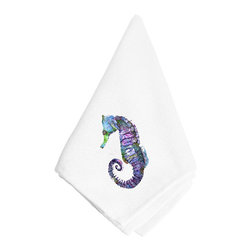 Caroline's Treasures - Seahorse Napkin 8639NAP - Dinner Napkin - 100% polyester - wash, dry and lay flat.  No ironing needed.  20 inch by 20 inch