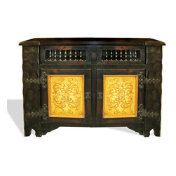Koenig Collection - Eclectic Old World Tokosh, Antiqued Wood With Black Stain And Gold Distressed - Eclectic Old World Tokosh, Antiqued Wood with Black Stain and Gold Distressed