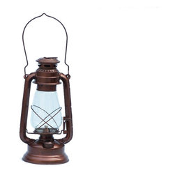 """Handcrafted Model Ships - Antique Copper Hurricane Oil Lantern 19"""" - Beach Bedroom Decor - This Antique Copper Hurricane Lantern 19"""" is an authentic marine ship lamp. Antique copper exudes a vintage finish to compliment the hurricane style lantern, hang this on the wall or use this to light any dark or dim areas in your home. This slender ships lantern is true to the original design of period lamps. Our hanging lantern is functional and simply needs oil to omit light. Dimensions: 7"""" Long x 6"""" Wide x 19"""" High"""