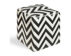 Fab Habitat - Laguna - Black & White Cube - Chic chevrons are highlighted in this sophisticated ecofriendly cube. This handmade two-toned ottoman was crafted from recycled materials and will look so mod in your living room or as the stool to your vanity area.