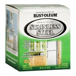 Rustoleum Brands - 247963 Qt Stainless Stl Paint - STAINLESS STEEL PAINT  Contains real stainless steel pigments  Creates rich, metallic finish  Great for refinishing exteriors of appliances -  such as refrigerators, dishwashers plus-  tabletops and picture frames  Roll-on application for smooth washable surface        247963 QT STAINLESS STL PAINT  Size:Quart