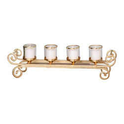 Uttermost Meron Gold Candelabra - Bright gold accented by clear glass candle cups and distressed white candles. Bright gold metal frame with clear, glass candle cups accented by bright gold rims. Distressed white candles included.