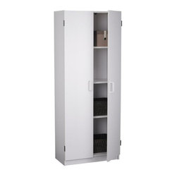 Ameriwood - White Pantry Cabinet with Four Shelves - Put this white pantry cabinet anywhere you ...