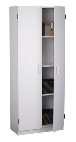 Ameriwood - White Pantry Cabinet with Four Shelves - Put this white pantry cabinet anywhere you need extra storage - kitchen, garage, workshop and more. The double doors conceal four spacious storage shelves. At almost five feet tall, there's loads of storage space yet it's still easy to reach the top shelf. Concealed storage behind 2 doors. Ample space on 4 shelves. Particleboard construction . Manufactured in USA. Minimal assembly required. 1-Year limited warranty. 12.5 in. L x 23.63 in. W x 59.69 in. H (74 lbs.)