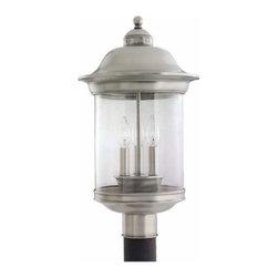 Sea Gull Lighting - 3-Light Post Lantern Antique Brushed Nickel - 82081-965 Sea Gull Lighting Hermitage 3-Light Outdoor Post Lantern with a Antique Brushed Nickel Finish