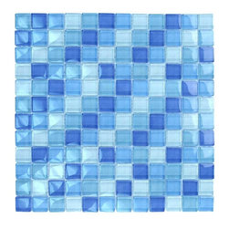 "Glass Tile Oasis - Teal Cobalt Blue Blend 1"" x 1"" Blue Crystile Blends Glossy Glass - Sheet size:  12"" x 12""        Tile Size:  1"" x 1""        Tiles per sheet:  144        Tile thickness:  1/4""        Grout Joints:  1/8""        Sheet Mount:  Mesh Backed        Sold by the sheet    -  Our Crystile Series offers a wide range of hues to suit your mood and your style! The vibrancy and depth of our crisp smooth glass results in a unique and dramatic effect for use in both residential and commercial installations.  The Crystile Series is virtually limitless in its range of applications and is suitable for the following walls backsplashes and any area just waiting to be transformed by light and color! Our sheets of mesh-mounted glass can be used to produce and endless variety of field patterns borders and medallions. This Series is ideal for use alone or as an exquisite complement to ceramic and natural stone materials. Let creativity be your guide. Crystile tiles are are easy to clean and maintain. Our tiles will never discolor and will continue to provide a smooth and luxurious appearance for many years to come."