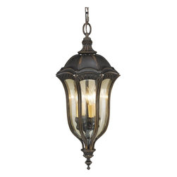 Murray Feiss - Murray Feiss Baton Rouge Traditional Outdoor Hanging Lantern X-LAW2106LO - The Murray Feiss Baton Rouge Traditional Outdoor Hanging Lantern is a timeless design with a feminine magnetism. Bountiful curves are accentuated by a Gold Luster Tinted Glass shade and a frame of intersecting Gothic arches warmly finished in Walnut.