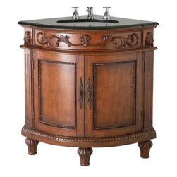 "Belle Foret - Belle Foret 35 Corner Single Basin Vanity with Black Granite Top, Dark Oak - Belle Foret 80039R 35"" Corner Single Basin Vanity with Black Granite Top, Dark Oak"