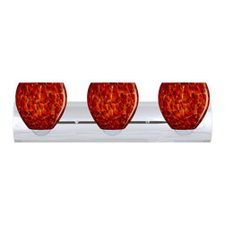 Besa Lighting - Besa Lighting 3WZ-412241 Bolla 3 Light Reversible Bathroom Vanity Light - The Bolla is a compact handcrafted glass, softly radiused to fit gracefully into contemporary spaces. Our Garnet glass is full of floating, vibrant red tones with a mix of black and white tones behind them. When the glass is lit the fiery color palette illuminates to exude a harmonious display. This decor is created by rolling molten glass in small bits of deep red hues called frit along with black glass powders. The result is a multi-layered blown glass, where frit color is nestled between an opal inner layer and a clear glossy outer layer. This blown glass is handcrafted by a skilled artisan, utilizing century-old techniques passed down from generation to generation. Each piece of this decor has its own artistic nature that can be individually appreciated. The vanity fixture is equipped with sleek arcing die cast lamp holders and matching radiused rectangular canopy.Features: