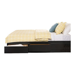 """Prepac - Prepac Coal Harbor Full Platform Storage Bed with Headboard in Black - Prepac - Beds - BBD56003KVKIT - Expand the storage potential of your bedroom with the Coal Harbor Full Mates Platform Storage Bed with 6 Drawers. Use the six 18"""" deep drawers (three on each side) included in this mates bed to stow away blankets linens and anything else that wont quite fit into your other bedroom furniture and conserve floor space while youre at it. You wont need a box spring either thanks to the slat support system that requires only a mattress.  As a final touch the footboards angular shape echoes the detail seen in the other members of the Coal Harbor Bedroom Collection making it easy to unify your bedrooms style.Pair this platform storage bed with the Coal Harbor Flat Panel Headboard. The two curved eye-catching cut-outs lend a subtle elegance to the headboard and echo the angular shapes on the other collection pieces.  This flat-panel headboard is specifically designed to attach to Prepacs Full and Queen Platform Storage Beds. Simply remove the screws at the head of the bed and attach the headboard directly."""