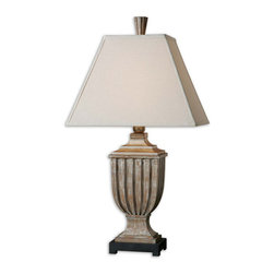 Uttermost - Uttermost Saviano Lamp w/ Rectangle Straight Sided Shade - Lamp w/ Rectangle Straight Sided Shade belongs to Saviano Collection by Uttermost Heavily distressed, aged pecan finish with burnished edges and a light gray wash. The rectangle straight sided shade is an off white linen fabric with natural slubbing. Lamp (1)