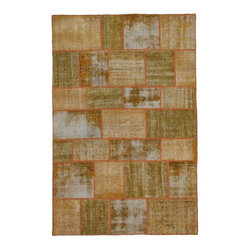 """Pre-owned Orange Overdyed Turkish Patchwork Carpet - Traditional Turkish patterns from an assortment of vintage pieces mix to make this hand made, naturally distressed vintage rug. Full cotton backing and decorative blanket stitch edging. 328    Remnants of vintage wool on a cotton warp, made entirely by hand in the '60's through '80's when Turkish women still included weaving in their daily homemaking chores. Employing the sturdy double knot technique unique to Turkish rugs, multicolor floral and medallion motifs were created a row at a time using bright hand dyed wools. Considered too old fashioned for modern Turkish homes in their traditional incarnations, these rugs have languished in back rooms of the bazaars‰Ű_until now, as these fragments in excellent condition are overdyed and combined to create modern patchwork statements for the floor.    Note from the seller: """"Our revitalization process keeps rugs that may otherwise get tossed out of landfill. Repurposed discards are helping artisans connect and create, supporting the community we're building here in Istanbul to revive vanishing traditional fiber crafts.‰Űť    Please note that all sales are final - These amazing rugs are coming direct from Istanbul, Turkey and returns will not be allowed."""