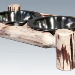 Montana Woodworks - Small Pet Feeder - Includes two stainless steel embossed feeding bowls. Handcrafted. Heirloom quality. Skip peeled by hand using old fashioned draw knives. Made from solid U.S. grown wood. Made in USA. No assembly required. 17 in. W x 9 in. D x 4 in. H (3 lbs.). Warranty. Ready to Finish. Use and Care Instructions