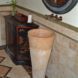 "Red Marble Pedestal Sink - Boise, Idaho:  A red marble pedestal sink blends in nicely with the tile wainscoting and tile floor in this long, narrow powder bathroom.  Using this pedestal sink gave the owners more floor space as the top of the sink is only 16"" diameter and it sits off the wall by only 1/2""."
