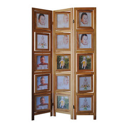 "ADAD5480-NA - 3 Panel Double Sided Natural Finish Wood Photo Frame Room Divider Screen - 3 panel double sided natural finish wood photo frame room divider screen with swivel frames. Opening measures 7"" x 8"". Measures 38"" x 64"" H. Some assembly required."