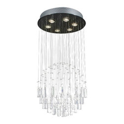 "The Gallery - Modern ""Rain Drop"" Crystal chandelier Lighting - 100% crystal chandelier. A excellent Crystalixture for your foyer, dining room, living room and more! This fixture features beautiful 100% crystals that capture and reflect the light. Truly a stunning chandelier, this chandelier is sure to lend a special atmosphere anywhere it is placed. Assembly Required. Collection: G902 Modern Collection"