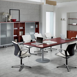 Kim Executive Rectangular Conference Table By DV Office - The wide base metal column for conference tables is made of tubular metal, diameter 80 mm, with sheet metal top plate dia 500 mm and thickness 8 mm. Sheet metal base diameter 600 mm and thickness 10 mm. All embossed black coloured
