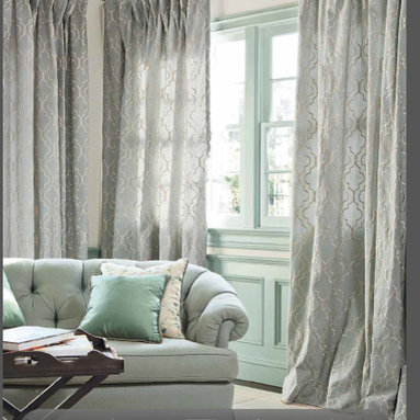 smith and noble - soft top draperies - This soft top drapery is used with a rod iron rod and rings. The drapery can be hand traversed very easily with this rod. The drape breaks at the floor for a very elegant look.