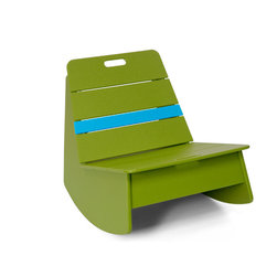 Loll Designs - Loll Designs Leaf Green Racer Rocker Chair - This low rocking chair has a funky modern style and a bright green color with a bright blue stripe that makes it stand out in a room or on a deck. A handle on the backrest of the side chair makes it easy to move around with the arrangement of your outdoor space, and its casual structure brings cheerful simplicity to a patio or deck. Bright, bold, youthful - this rocker is a fun piece to accent your contemporary decor.  As a member of the 1% for the planet organization, Loll Design donates 1% of its gross sales to a worldwide network of environmental organizations. Crafted from recycled plasticDurable and weather-resistant for outdoor useEasy assemblyMade in the USAShips in 6 weeks