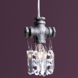 """Michael McHale Designs - Tribeca Mini Pendant by Michael McHale Designs - A miniaturized melange of glamour and grime, the Michael McHale Designs Tribeca Mini Pendant whimsically dangles chunky cuts of optically pure, fully-leaded Bohemain crystal from an upcycled narrow-gauge black steel gas pipe fitting. An improbable-but-deft marriage of industrial and crystalline aesthetics, the fixture creates a large presence despite its small scale. Unquestionably suited for clustered or linear installations. An inventive juxtaposition of the utilitarian and the exquisite, Michael McHale Designs displays an aesthetic sensibility that undercuts tidy categorization. Repurposed steel pipes are ruggedly raw; high-quality, fully-leaded crystals confer luxuriousness; the regular use of flame-tipped candelabra bulbs play off a traditional archetype long associated with elaborate chandeliers. The disparate material mediums stylistically balance the high and the low, successfully coalescing into a unique amalgamation that McHale understandably references as """"industrial chic."""""""