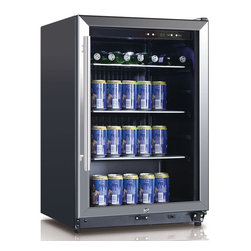 Equator Advanced Appliances - Equator Advanced Appliances CH 169-138 Wine Cooler - Black - CH 169-138 - Shop for Wine Refrigerators from Hayneedle.com! You're serious about wines; so are Equator's designers. The Equator Advanced Appliances CH 169-138 Wine Cooler - Black fits within a small footprint yet houses an astonishing 138 bottles from your collection. Digital temperature controls can be set between 1-10 degrees C (34-50 degrees F) and humidity is controlled as well. Should the refrigeration system fail to maintain the appropriate temperature a loud alarm will sound to notify you. The reversible door can be hinged on the right or left. The flush back design aluminum grip handle and adjustable legs create a room-enhancing look. Interior LED lighting activates when the door is opened to help you retrieve the right bottle. Features glass shelving with one wire shelf that slides out for convenience. You have the option of keeping wines under lock and key.About Equator Advanced AppliancesEquator wants to save you time space and energy. The Equator design process is based on the notion that our devices should simplify your chores and make your life better. At the same time we understand we're responsible for responsibly managing Earth's resources. Equator always aims to create products that reduce energy and water usage while reducing the pollutants generated throughout the entire life cycle of our products. Superior customer service and technical support are another crucial aspect of the Equator mission. Our products have won numerous awards from Consumer Reports Design Journal and appliance manufacturer trade associations.