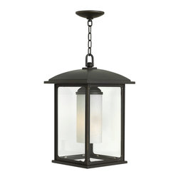 """Hinkley - Stanton 11"""" Wide Oil Rubbed Bronze Outdoor Hanging Light - A charming choice when accenting a covered patio or porch, this outdoor hanging light features a rich oil rubbed bronze finish. A traditional style with austere, clean lines, this hanging light features four panels of clear glass that surround the cylindrical bulb enclosure. Solid aluminum construction ensures durability and strength while the wide canopy, trim, and hanging apparatus are finished in oil rubbed bronze to complement the luxurious look. A flush mount style, this charming hanging light is from Stanton Collection by Hinkley Lighting."""