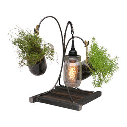 Wayne Works - Life and Light - Mason Jar Lamp and Planter - Combine industrial, vintage and a hint of greenery in the ultra cool lamp / planter combo.