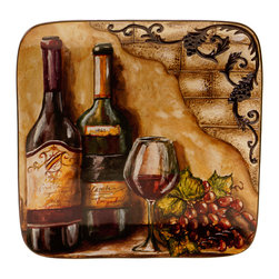 Certified International - Hand-painted Tuscan View 14.5-inch Square Platter - The delightful Tuscan View square platter is sure to exhibit class and sophistication in your home. With its hand-painted design,this platter will has a unique style that will look fabulous on your dining table.