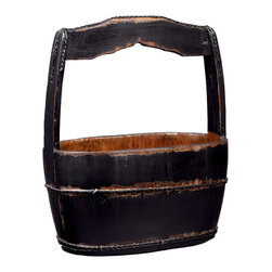 Antique Revival - Black Vintage Shanghai Bucket - This multi-purpose vintage wooden bucket features a sturdy handle and refinished exterior. The distressed finish includes black paint and a natural wood interior. This bucket looks great on its own, or can be used to display flowers.