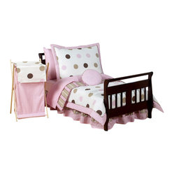 Pink & Chocolate  Mod Dots Toddler Bedding Set